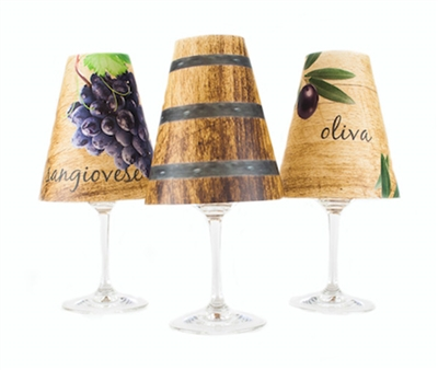 Wine Tasting Tuscany Red Wine Glass Shades Set of 6 - di Potter wood background sangiovese grapes and oak barrel pattern place on a wine glass with a flameless tea light