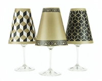 Modern geometric cube, greek key and 3D line pattern paper red wine glass shades.