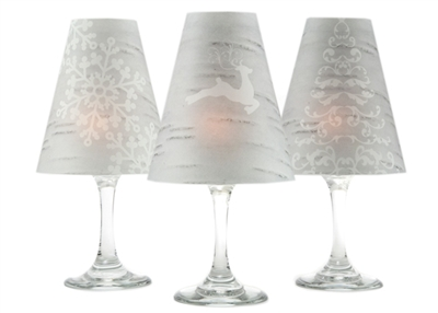 Holiday Birch translucent paper white wine glass shades by di Potter. Christmas shades.  Set of 6 coordinating reindeer tree and snowflake shades.
