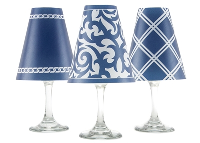 Santa Barbara White Wine Glass Shades  Set of 6 by di Potter. Coral Navy Blue Ginger Jar pattern chain pattern link double lines paper vellum new collection for use with wine glasses and flameless tea lights