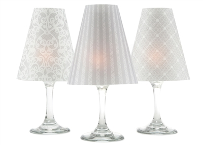 Set of 6 coordinating lace, netting and stripe pattern white wine glass shades.  Part of Linen & Lace collection by di Potter. white and gray. Made in the USA.