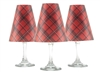 Holiday Plaid translucent paper white wine glass shades by di Potter.  6 plaid pattern shades.  Made in the USA.  Christmas and Holiday shade.