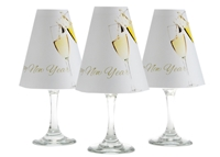 Happy New Year translucent paper white wine glass shades by di Potter. New Year shades.  Set of 6 white wine shades of the same pattern with champagne image.