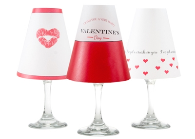 Coordinating kiss, Valentine's Day and heart paper white wine glass shades. Available in Bahama Blue, Aqua, Rose and Midnight Blue  Made in the USA.