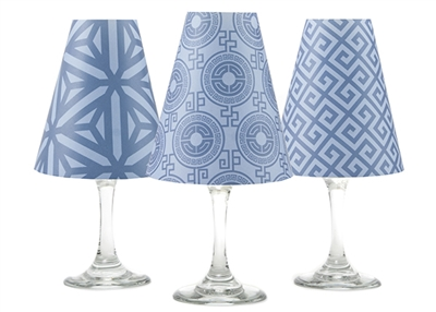 Set of 6 coordinating key, kaleidoscope and classic pattern translucent paper white wine glass shades by di Potter.  Made in the USA.