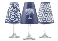 Set of 6 coordinating menorah, star of david and ginger jar pattern translucent paper white wine glass shades by di Potter.  Made in the USA
