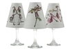 Set of 6 coordinating elf, snowmen, and Mr. and Mrs. Claus pattern translucent paper white wine glass shades by di Potter.  Made in the USA