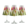 Set of 6 coordinating tulip pattern translucent paper white wine glass shades.  Ready to assemble.   Made in the USA.