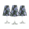 Set of 6 coordinating floral periwinkle blue pattern translucent paper white wine glass shades.  Ready to assemble.   Made in the USA.
