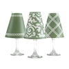 Santa Barbara White Wine Glass Shades  Set of 6 by di Potter. Coral Olive Green Ginger Jar pattern chain pattern link double lines paper vellum new collection for use with wine glasses and flameless tea lights