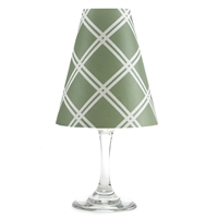 Chain link pattern translucent paper white wine glass shades.    Made in the USA.