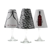Set of 6 coordinating wine bottle, cork and cheers pattern translucent paper white wine glass shades.  Available in parchment and white.  Made in the USA,