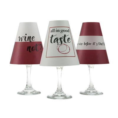 Set of 6 coordinating translucent paper white wine glass shades.  Perfect for any wine lover! Available in a red and white combination.  Made in the USA,