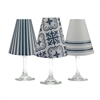 Modern Farmhouse White Wine Glass Shades  Set of 6 by di Potter. Stripe, tile and solid  pattern paper vellum new collection for use with wine glasses and flameless tea lights