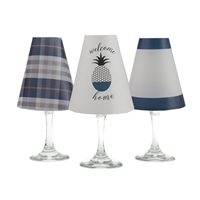 Welcome Home White Wine Glass Shades  Set of 6 by di Potter. Pineapple, plaid and solid  pattern paper vellum new collection for use with wine glasses and flameless tea lights
