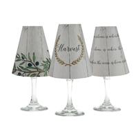 White Oak Harvest White Wine Glass Shades  Set of 6 by di Potter. Great for a wine tasting party. Harvest design pattern paper vellum new collection for use with wine glasses and flameless tea lights