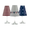 Set of 6 coordinating red white and blue translucent paper white wine glass shades by di Potter.  Simple add a tea light to a wine glass to create simple table decor.  Made in the USA