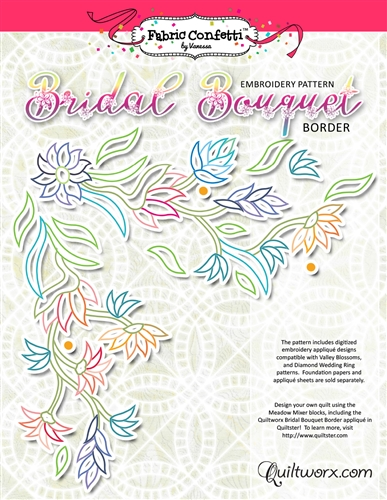 Bridal Bouquet Border Machine Embroidery - Digitial Download