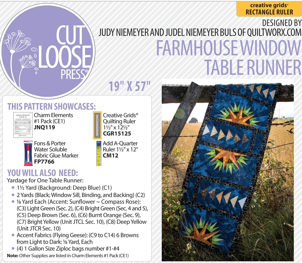 From Cut Loose Press Patterns NEW NORTHERN STAR TABLE RUNNER PATTERN