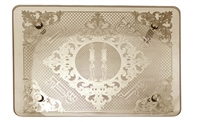 Candlestick Tray - tempered glass w/ gold plate