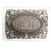 Candlestick Tray - tempered glass w/ silver plate