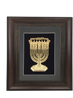 Lamnatzeach Menorah Gold Art Wall Frame Size 23x30 Brown Frame