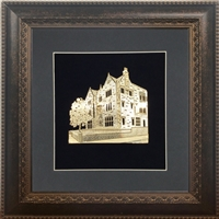 Wall Frame with Gold Art of 770 Size 16x16 Brown Frame