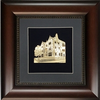 Wall Frame with Gold Art of 770 Size 16x16 Dark Brown Frame