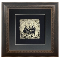 Wall Frame with gold art of Chasidim Dancing 16x16