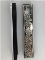 Mezuzah Case Silver Plated with Black Border- 15 cm scroll