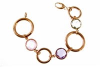 Beautiful 18k Rose Gold Chain Link Bracelet enhanced by the warmth of three Bezel set Gemstones. Soft Pink Quartz, Purple Amethyst & pale Green Amethyst give a designer look, yet stay neutral in color. Lobster Clasp. Made in  Italy by Zoccai