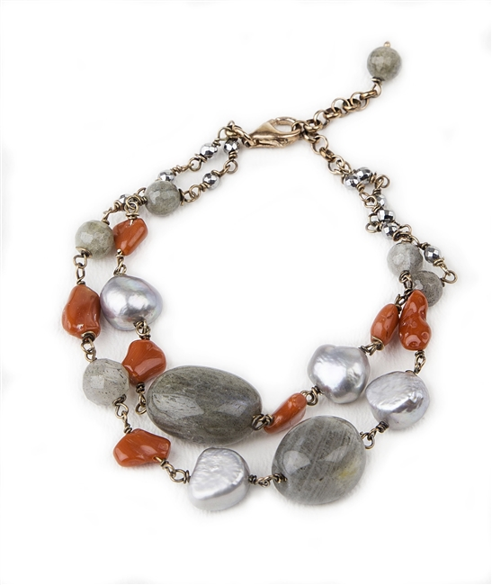 "A double strand Sterling Silver chain Bracelet featuring Labradorite Gemstones, Coral and Grey Freshwater Pearl accents. The chain is also enhanced with Pyrite Beads. Made in Italy by Mattio Mazza. Lobster Clasp, adjustable in Length 6 3/4"" to 8"""