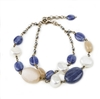 "A double strand Sterling Silver chain Bracelet featuring Blue Kyanite & Peach Moonstone Gemstones with White Pearl accents. The chain is also enhanced with Pyrite Beads. Made in Italy by Matio Mazza. Lobster Clasp, adjustable in Length 6 3/4"" to 8"""