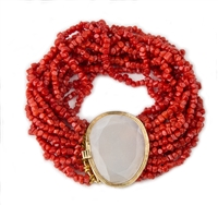 "Multi-strand Red Coral designer Bracelet with a Moonstone Brooch at the closure. The faceted Gemstone is framed in 18K Yellow Gold and holds a locking clasp. Made in Italy by Mattio Mazza. Fits a 7"" to 8"" wrist.  Clasp with Moonstone is 1 3/8"" L X 1 1/8W"