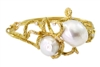 One of a kind designer Bracelet by Noi Gioielli in 18k Yellow Gold. Two large South Sea Pearls are the focus of this stunning piece. Enhanced with 0.15ctw of White Diamonds. The Bracelet is hinged with a lobster clasp. Made in Italy.