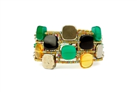 This Cubic Cuff Bracelet by Ziio is fun, colorful & unique in design. Mixed colors of polished Cube Gemstones create a checkerboard effect - Green Onyx, Black Onyx, Yellow Citrine & Pyrite. Hand crafted on stainless steel wire with murano glass beads.