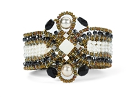 Ziio's Knott Cuff Bracelet with Black Onyx & Tourmaline Gemstones, Mother of Pearl and White Seed Pearls. Also accented with Silver Beads and Murano Glass Seed Beads. 925 Sterling Silver Button Closure, adjustable in length.