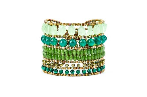 Various semi-precious Green Gemstones create this beautiful beaded  Cuff Bracelet by Ziio. Handcrafted using Aventurine, Jade, Chrysophase, Malachite, Murano Glass Seed Beads on Stainless wire. Sterling Silver Button Closure, adjustable  length.