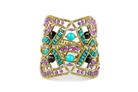 This beautiful Blue Turquoise Gemstone Cuff Bracelet is hand crafted by Ziio and features an intricate net/lace design, accented with Purple Amethyst Gemstones. Made with stainless steel wire & golden Murano Glass seed Beads. Made in Italy.