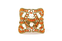 This beautiful Orange Carnelian Gemstone Cuff Bracelet is hand crafted by Ziio and features an intricate net/lace design, accented with White Water Pearls. Made with stainless steel wire & golden Murano Glass seed Beads. Made in Italy.