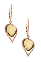 Stunning Earrings by J.Jewels. The golden, warm glow of the Cognac Quartz Gemstones is amazing in these teardrop Earrings. 0.70ctw of Pave set White Diamonds descend down the extended post and frame the Gemstones. Made in Italy. 18k Gold, lever back