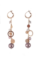 Beautiful long Chandelier Earrings, full of movement, in 18K Rose Gold. Multi-sized Pearls and gold charms descend down the drop. Pearls are White, Pink & Grey and vary in size from 3mm to 9.5mm. Lever Backs. Made in Italy by Zoccai. Length 2 1/2""