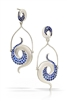 Double Galaxy Earring are true art-to-wear. Hand crafted with pave set Lab Created Blue Sapphire Gemstones in Argentium Silver these designer chandelier Earrings are as unique as you are. By Martha Seely