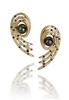 "Martha Seely's Nebula Open Spiral Post Earrings with Peacock AKOYA Pearls (6mm), and accented with Black & White Diamonds along the spirals. Made in 14k Yellow Gold these designer Earrings will garner you many compliments. Length 1 3/8"" X width 3/8"""