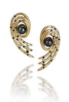 Martha Seeley's Nebula Open Spiral Post Earrings with Peacock AKOYA Pearls, and accented with Black & White Diamonds. 14k Yellow Gold