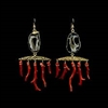 These Chandelier Earrings feature 22k gold detailed Agate Geodes and vintage polished Italian Red Coral branches. Large but lightweight, these highly limited edition earrings are a true jewel in our Resort Collection. 14k gold filled ear wire