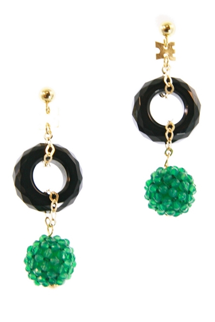 Made in Italy by Rajola, a sphere of Green Agate Gemstones descend from a faceted ring of Black Onyx. Tiny Green Agate beads have been hand woven onto a sphere to create this unique effect. The post and chain links are made of 18k Yellow Gold. L 2""
