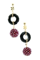 Crafted in Italy by Rajola, a sphere of Purple Garnet Gemstones descend from a ring of Black Onyx. Tiny garnet beads have been hand woven onto a sphere to create this unique effect. The post and chain links are made of 18k Gold.