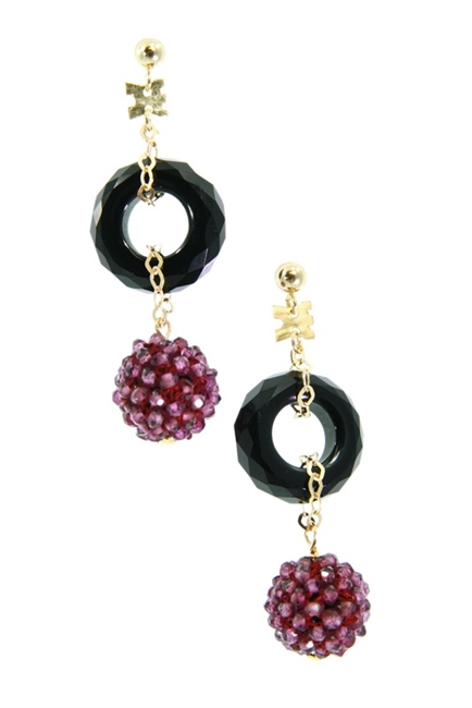 Crafted in Italy by Rajola, a sphere of Purple Garnet Gemstones descend from a ring of Black Onyx. Tiny Citrine beads have been hand woven onto a sphere to create this unique effect. The post and chain links are made of 18k Gold.