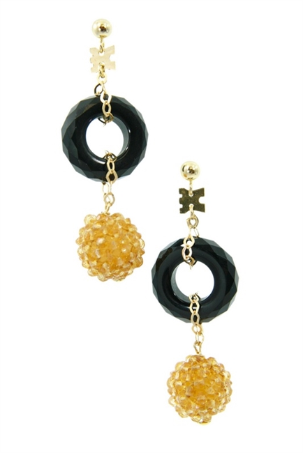 Crafted in Italy by Rajola, a sphere of Citrine Gemstones descend from a ring of Black Onyx. Tiny Citrine beads have been hand woven onto a sphere to create this unique effect. The post and chain links are made of 18k Gold.